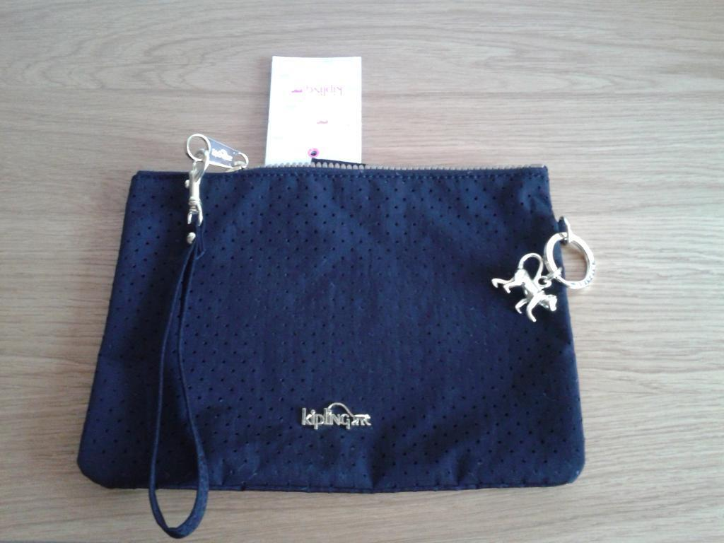 New with tags black fabric Kipling wristlet