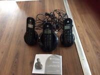 Home phones set of 3 Motorola c6 cordless digital.
