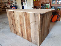 Portable Barn Board Bar for Rent $125