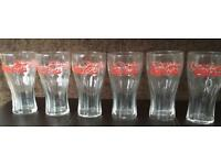 Six Coca-Cola Coke Glasses Vintage Retro Style