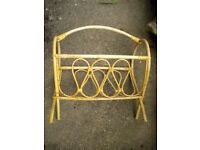 A WICKER MAG RACK 18X18X10 INCHES