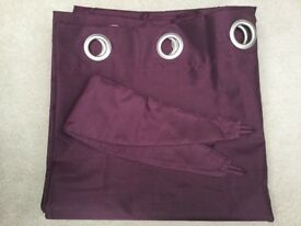 Dunelm 'Nova' Aubergine (Purple) Lined Eyelet Curtains Approx 167cm x 183cm