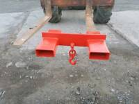 Forklift lifting jib frame with hook rated at 2.5 ton tractor telehandler