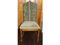 ANTIQUE WOODEN CHAIR high back velvet green upcycled vintage/hipster ooak retro/study sturdy