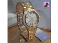 Casio SHE-4512G-7AUER Ladies Sheen Gold Plated Watch with Swarovski Elements - RRP £180