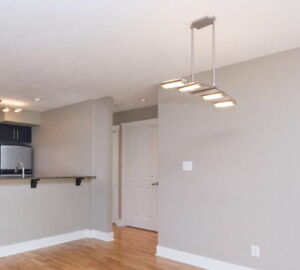 """Quality 4 light Brushed Nickel & glass fixture hangs 22""""  $60"""