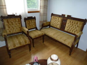 Antique Spanish style love seat and 2 chairs