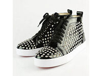 Christian Louboutin Black Patent Leather with Silver Spikes High tops trainers Size 8