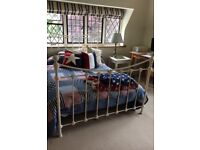 Ivory white/light cream metal Laura Ashley double bed