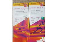 2 x IAAF 2017 tickets on FINISHING LINE to see BOLT and MO FARAH final ever race! - Sat 12th Aug