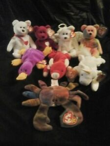 8 rare,retired valuable Ty beanie babies