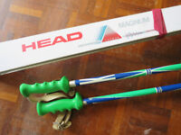 Head Magnum skis 175cms, Look bindings and 2 ski poles