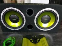 """Twin 12"""" sub woofer with amp & wires"""