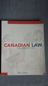 Canadian Law:  An Introduction by Neil Boyd 3rd Edition