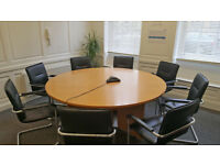 6ft Round Conference Table and 8 Leather Meeting Chairs