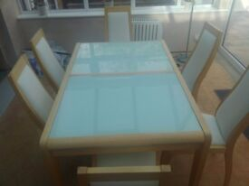 Solid ash & glass extendable dinning table 6 chairs. With matching display unit.