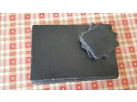 Natural slate table mats and coasters. Set of 4.