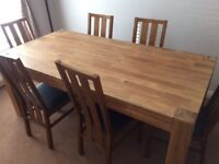Solid Oak chunky, heavyweight dining table - 180cm x 90cm, plus 6 chairs
