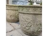 Vintage stone plant pots / planter