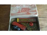 Rare Mettoy ( pre Corgi ) tin plate mechanical streamline train, clockwork train in original box.