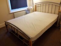 Double bed frame and memory foam mattress - spare bed so hardly used