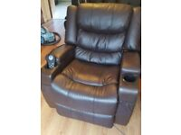 Brown leather electronic massage heat and recliner chair.