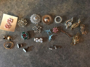 Vintage brooches & Clip-on earrings.