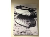 Black & White Boat Photograph on Canvas