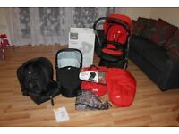 JOIE CHROME 3IN1 TRAVEL SYSTEM WITH JOIE GEMM CAR SEAT - RED