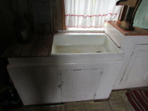 antique farm sink and cupboard