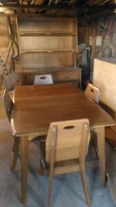 Solid wood dining set and Hutch