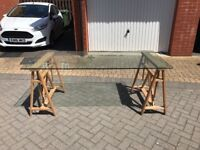 Glass Topped Trestle Table