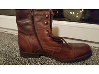 Brand New Unworn Aldo Mens Brown Leather Boots RRP 76.98