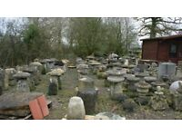 Sets of 4 x Saddle stones, weathered stone in varying heights