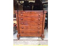 Antique Mahogany & Walnut Ogee Chest of Drawers - Antique Vintage Retro