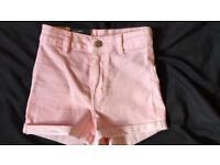 High waist light pink denim shorts