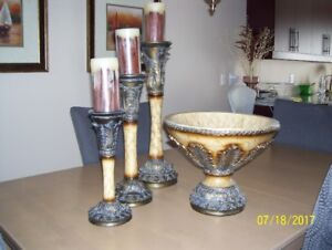 Vase and 3 candle holders from Bowring