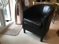 Leather Chair - bucket style in black leather. Good condition