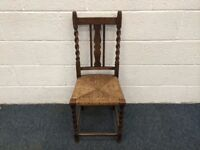 Antique Solid Oak Chair With Barley Twist Legs And Rush Seat
