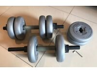 Set of dumbbell gym weights (adjustable)