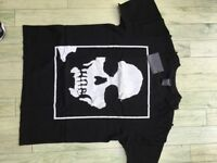 "New - Black ""white skull"" Tee-Shirt by Japanese company Number Nine - 1 x Meduim & 1 x Lage"