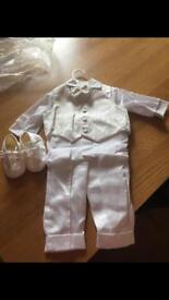 Boys ivory and white Christening outfit
