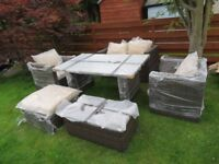 Rattan garden furniture set 2-seater sofas, chairs, and glass top table - NEW