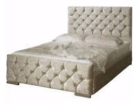 Same Day Quick Delivery Brand New Premium Double / King Crushed Velvet Chesterfield Bed & Mattress