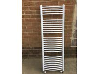 Towel bathroom radiator. White metal. Good condition.