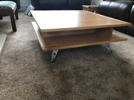 Hand made Beech wood Coffee Table with chrome legs