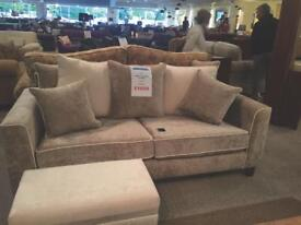 3 seater sofa with 1 seater and poufe