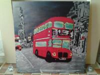 """LARGE CANVAS OF FUNKY """"LONDON ROUTEMASTER RED BUS"""""""