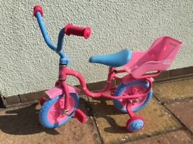 Baby Annabell Child's pink first bike with stabilisers as new
