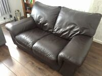 2 seater brown real leather sofa couch